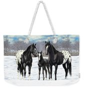 Black Appaloosa Horses In Winter Pasture Weekender Tote Bag