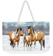 Buckskin Paint Horses In Winter Pasture Weekender Tote Bag by Crista Forest