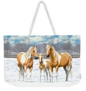 Palomino Paint Horses In Winter Pasture Weekender Tote Bag