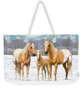 Palomino Appaloosa Horses In Winter Weekender Tote Bag