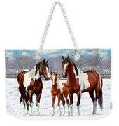 Bay Paint Horses In Winter Weekender Tote Bag