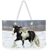 Black Pinto Gypsy Vanner In Snow Weekender Tote Bag by Crista Forest