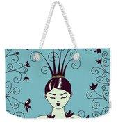 Strange Hairstyle And Flowery Swirls Weekender Tote Bag