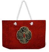 Japanese Katana Tsuba - Golden Twin Koi On Black Steel Over Red Velvet Weekender Tote Bag