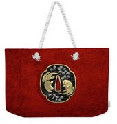 Japanese Katana Tsuba - Twin Gold Fish On Black Steel Over Red Velvet Weekender Tote Bag