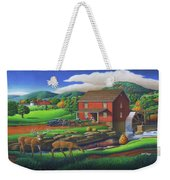 Old Red Appalachian Grist Mill Rural Landscape - Square Format  Weekender Tote Bag