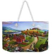 Folk Art Blackberry Patch Rural Country Farm Landscape Painting - Blackberries Rustic Americana Weekender Tote Bag