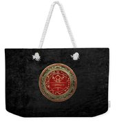 Gold Seal Of Solomon - Lesser Key Of Solomon On Black Velvet  Weekender Tote Bag