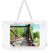 Image Included In Queen The Novel - Bike Path Bridge Over Winooski River With Sailboat 22of74 Poster Weekender Tote Bag