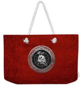 Western Zodiac - Silver Taurus - The Bull On Red Velvet Weekender Tote Bag