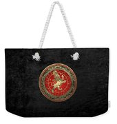 Western Zodiac - Golden Leo - The Lion On Black Velvet Weekender Tote Bag