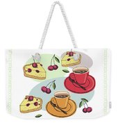 Black Cherry Pie And A Steaming Hot Cup Of Coffee Weekender Tote Bag