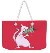 Funny White Cat Eats Christmas Tree Weekender Tote Bag