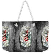 Crushed Light Silver Beer Can On Bw Plywood 79 Weekender Tote Bag