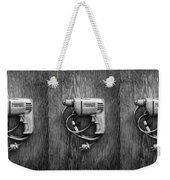 Porter Cable Drill On Plywood 76 In Bw Weekender Tote Bag