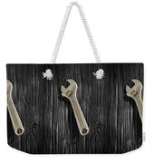 Adjustable Wrench Over Black And White Wood 72 Weekender Tote Bag