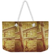 Spading Fork On Chicken Wire Fence Morning Sunlight Weekender Tote Bag
