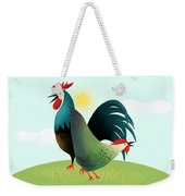 Morning Glory Rooster And Hen Wake Up Call Weekender Tote Bag