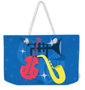 Jazz Composition With Bass, Saxophone And Trumpet Weekender Tote Bag