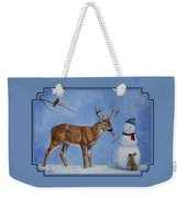 Whitetail Deer And Snowman - Whose Carrot? Weekender Tote Bag by Crista Forest