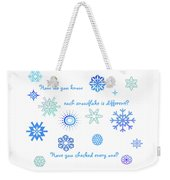 Snowflakes Weekender Tote Bag by Methune Hively