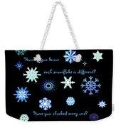 Snowflakes 2 Weekender Tote Bag by Methune Hively