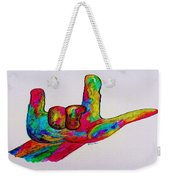 American Sign Language I Love You Weekender Tote Bag by Eloise Schneider