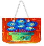 Blue Flowers On Orange Weekender Tote Bag
