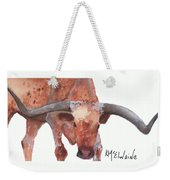 On The Level Texas Longhorn Watercolor Painting By Kmcelwaine Weekender Tote Bag