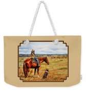 Horse Painting - Waiting For Dad Weekender Tote Bag by Crista Forest