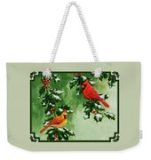 Cardinals And Holly - Version With Snow Weekender Tote Bag by Crista Forest