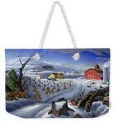 Folk Art Winter Landscape Weekender Tote Bag