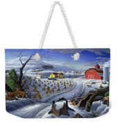 Folk Art Winter Landscape Weekender Tote Bag