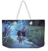 Asian Boy Playing Water With Dad And Buffalo Weekender Tote Bag