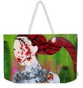 Asian Flower Woman Red Weekender Tote Bag