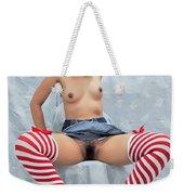 Asian Girl, Candy Cane Socks Weekender Tote Bag