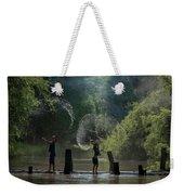 Asian Girl Playing Water In River Weekender Tote Bag