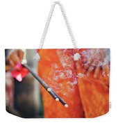 Asian Woman Holding Incense Sticks During Hindu Ceremony In Bali, Indonesia Weekender Tote Bag