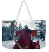 Asian Woman In Red Kimono Dancing In The Snow Spinning Around To Weekender Tote Bag