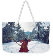 Asian Woman In Red Kimono Dancing On The Snow In The Forest Weekender Tote Bag