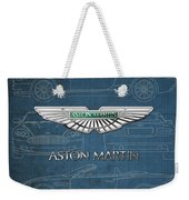 Aston Martin 3 D Badge Over Aston Martin D B 9 Blueprint Weekender Tote Bag
