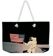 Astronaut With Us Flag On Moon Weekender Tote Bag