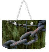 At The Fence Gate - Chain, Wire, And Post Weekender Tote Bag