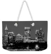 Atlanta Skyline At Night Downtown Midtown Black And White Bw Panorama Weekender Tote Bag