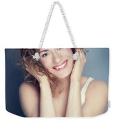 Attractive Young Woman Touching Her Hair And Face. Weekender Tote Bag