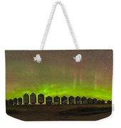 Aurora Borealis Behind Grain Bins Weekender Tote Bag