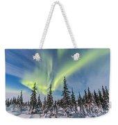 Aurora Borealis Over The Trees Weekender Tote Bag