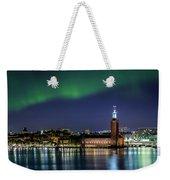 Aurora Over The Stockholm City Hall And Kungsholmen Weekender Tote Bag