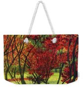 Autum Red Woodlands Painting Weekender Tote Bag