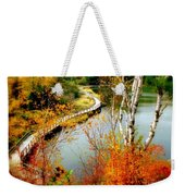 Autumn Birch Lake Boardwalk Weekender Tote Bag